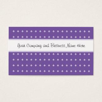 Purple and White Fleur de Lys Business Card