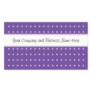 Purple and White Fleur de Lys Double-Sided Standard Business Cards (Pack Of 100)