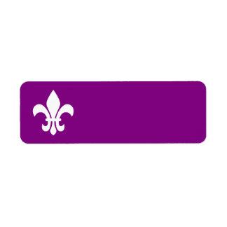 Purple and White Fleur de Lys Return Address Label