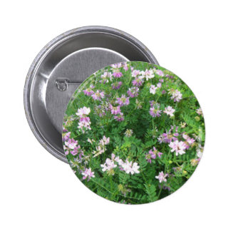 Purple and White Floral 2 Inch Round Button