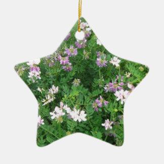 Purple and White Floral Ceramic Ornament