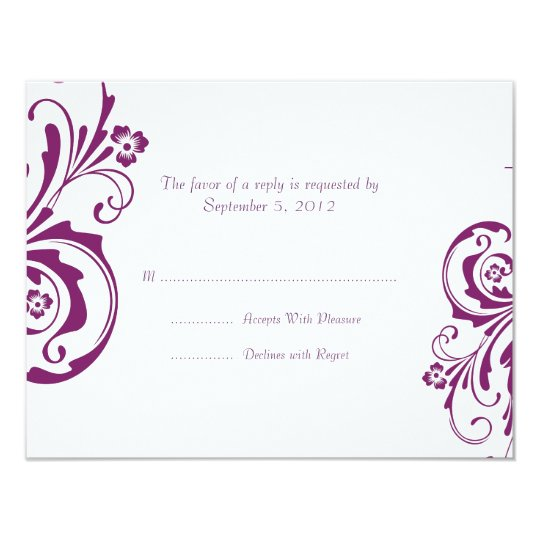 Purple and White Floral Chic Wedding RSVP Card