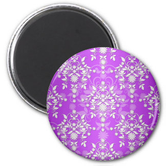 Purple and White Floral Daisy Damask Magnet