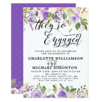 Purple and White Floral Engagement Announcement