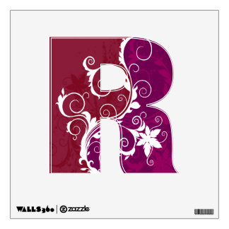 Purple and White Floral Grunge Wall Decal