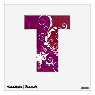 Purple and White Floral Grunge Wall Sticker