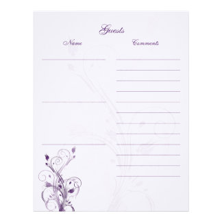 Purple and White Floral Guest Book Paper Letterhead Template