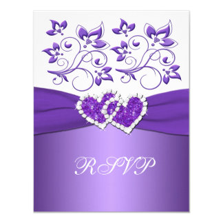 Purple and White Floral Joined Hearts RSVP Card