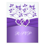 Purple and White Floral Joined Hearts RSVP Card Custom Announcement