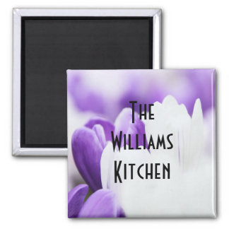 Purple and White Floral Magnet