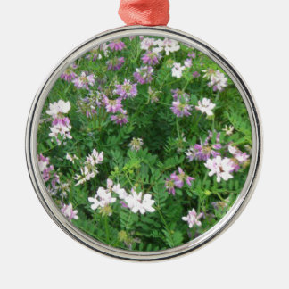Purple and White Floral Metal Ornament