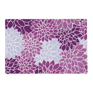 Purple and White Floral Pattern Placemat
