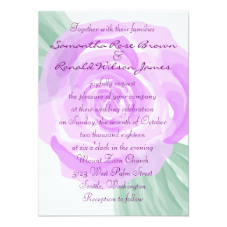 Purple and White Floral Rose Wedding Invitation