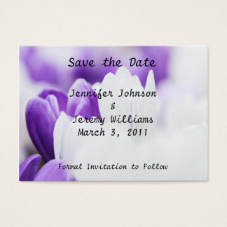 Purple and White Floral Save the Date Business Card