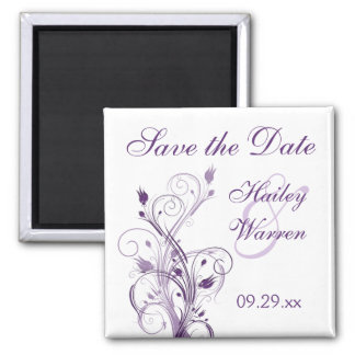 Purple and White Floral Save the Date Magnet