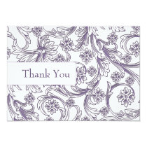 Purple and White Floral Spring Wedding Card