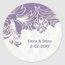 Purple and White Floral Spring Wedding Classic Round Sticker