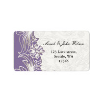 Purple and White Floral Spring Wedding Label