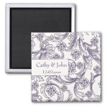 Purple and White Floral Spring Wedding Magnet