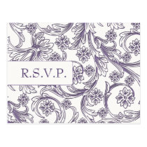 Purple and White Floral Spring Wedding Postcard