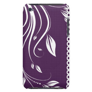 Purple and White Floral Swirls iPod Case-Mate Case