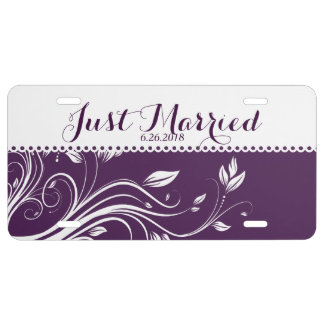 Purple and White Floral Swirls License Plate