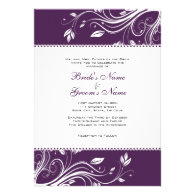 Purple and White Floral Swirls Wedding Invitation