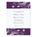"Purple and White Floral Swirls Wedding Invitation 5"" X 7"" Invitation Card"
