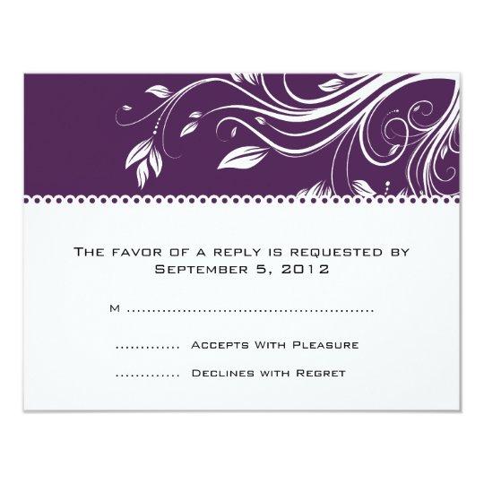 Purple and White Floral Swirls Wedding RSVP Card