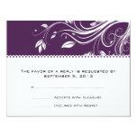 Purple and White Floral Swirls Wedding RSVP 4.25x5.5 Paper Invitation Card