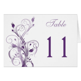 Purple and White Floral Table Number card