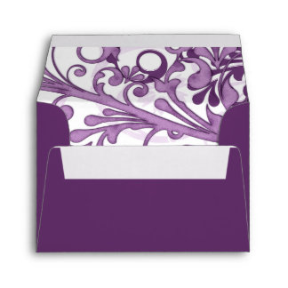 Purple and White Floral Wedding A-2 Envelopes