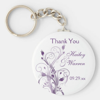 Purple and White Floral Wedding Favor Key Chain