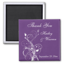 Purple and White Floral Wedding Favor Magnet