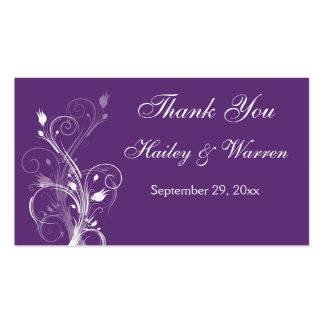 Purple and White Floral Wedding Favor Tag Business Card Templates