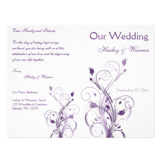 Purple and White Floral Wedding Program