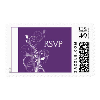 Purple and White Floral Wedding RSVP Postage
