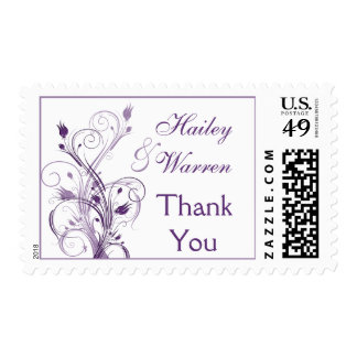 Purple and White Floral Wedding Thank You Postage