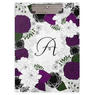Purple and White Floral Wreath Monogram Clipboard