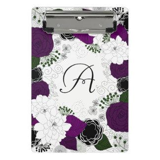 Purple and White Floral Wreath Monogram Mini Clipboard