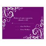 Purple and White Flourish Wedding RSVP Custom Invitation