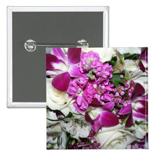 Purple and White Flower Arrangement Photo 2 Inch Square Button