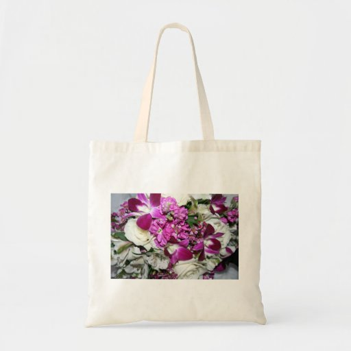 Purple and White Flower Arrangement Photo Budget Tote Bag