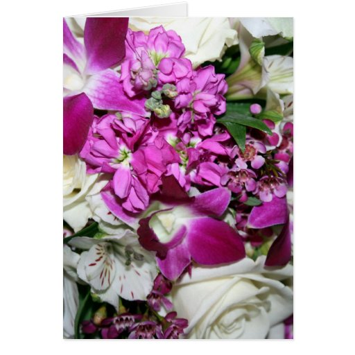 Purple and White Flower Arrangement Photo Greeting Cards