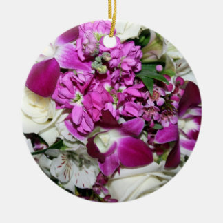 Purple and White Flower Arrangement Photo Ceramic Ornament