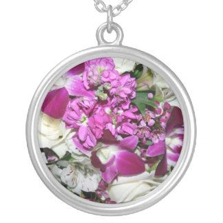 Purple and White Flower Arrangement Photo Round Pendant Necklace