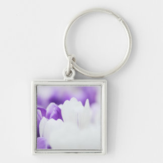 Purple and White flower background Keychain