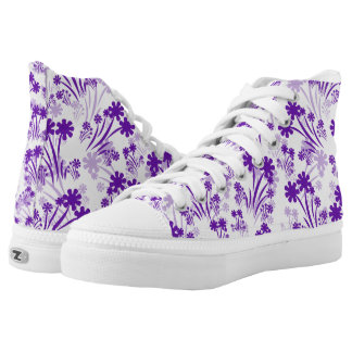 Purple And White Flower High Top Sneakers Printed Shoes