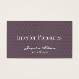 Purple and White Flower Monogram Business Card