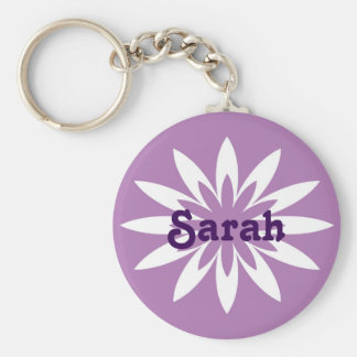 Purple and white flower monogram keychain